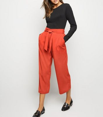 Orange Tie Waist Crop Trousers
