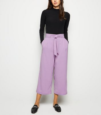 Lilac Tie Waist Cropped Trousers