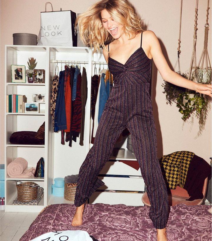 4e9f532267e Black Glitter Stripe Front Twist Jumpsuit
