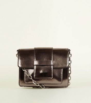 Pewter Chain Strap Cross Body Bag