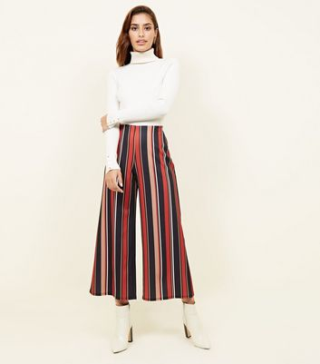 Black and Rust Stripe Scuba Cropped Trousers