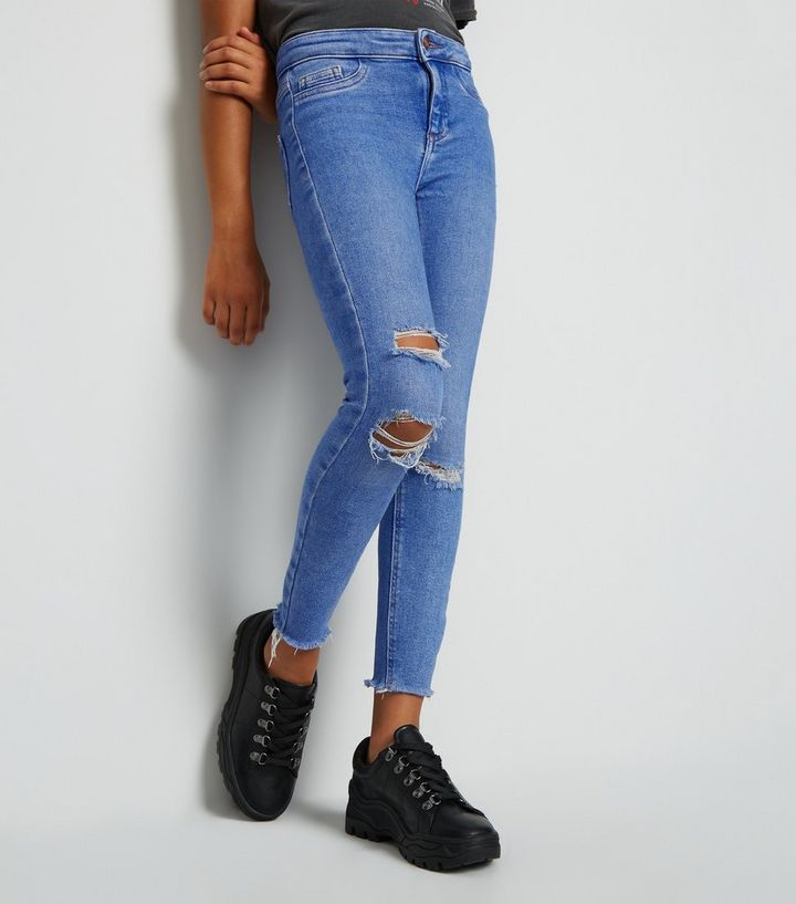 aec7cf108348 ... Girls Bright Blue Ripped Super Skinny Jeans. ×. ×. ×. Shop the look