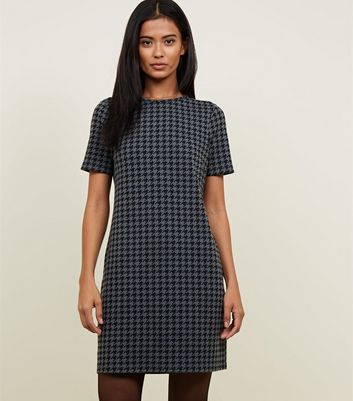 Grey Houndstooth Check Tunic Dress