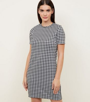 Black Houndstooth Check Tunic Dress
