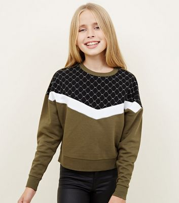 Girls - Sweat kaki design color block monogramme NYC