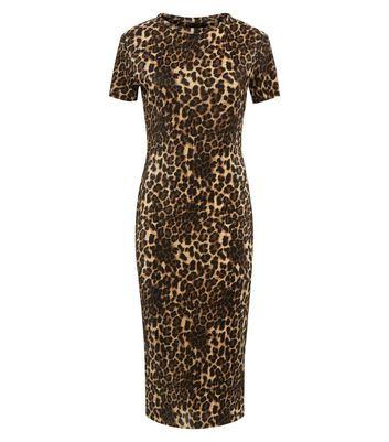 Cameo Rose Brown Leopard Print Plissé Midi Dress New Look