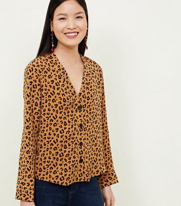 Brown Leopard Print Long Sleeve V-Neck Shirt