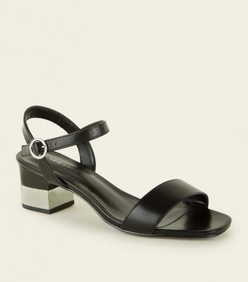 Black Contrast Low Block Heel Sandals