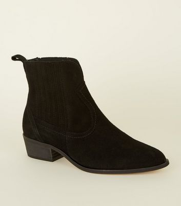 Black Premium Suede Western Ankle Boots