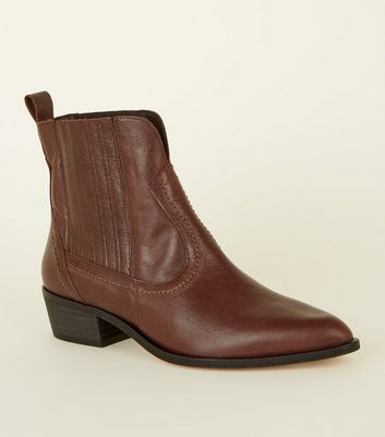 Brown Premium Leather Western Ankle Boots