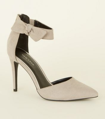 Grey Suedette Bow Ankle Strap Stilettos