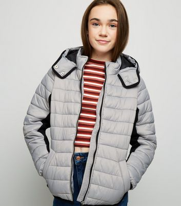 Girls Grey Piped Contrast Puffer Jacket