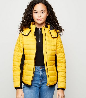 Girls Mustard Piped Contrast Puffer Jacket