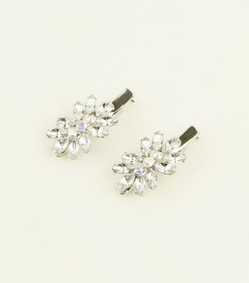 Silver Premium Crystal Flower Hair Slides