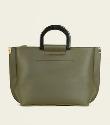 Khaki Resin Handle Tote Bag