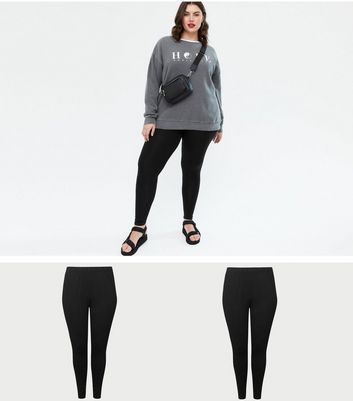 Curves - Lot de 2 leggings noirs en coton stretch