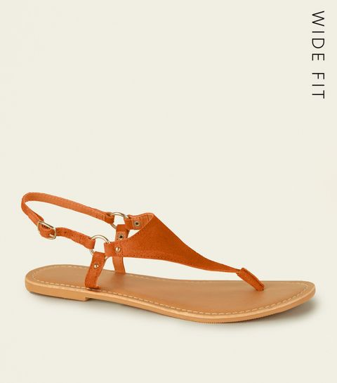 5884df1ae ... Wide Fit Orange Suede Flat Sandals ...