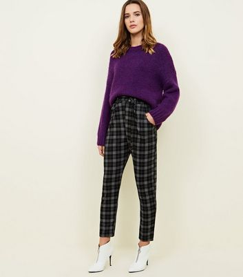 Cameo Rose Black Check D-Ring Belted Trousers