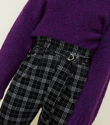 Cameo Rose Black Check D-Ring Belted Trousers New Look