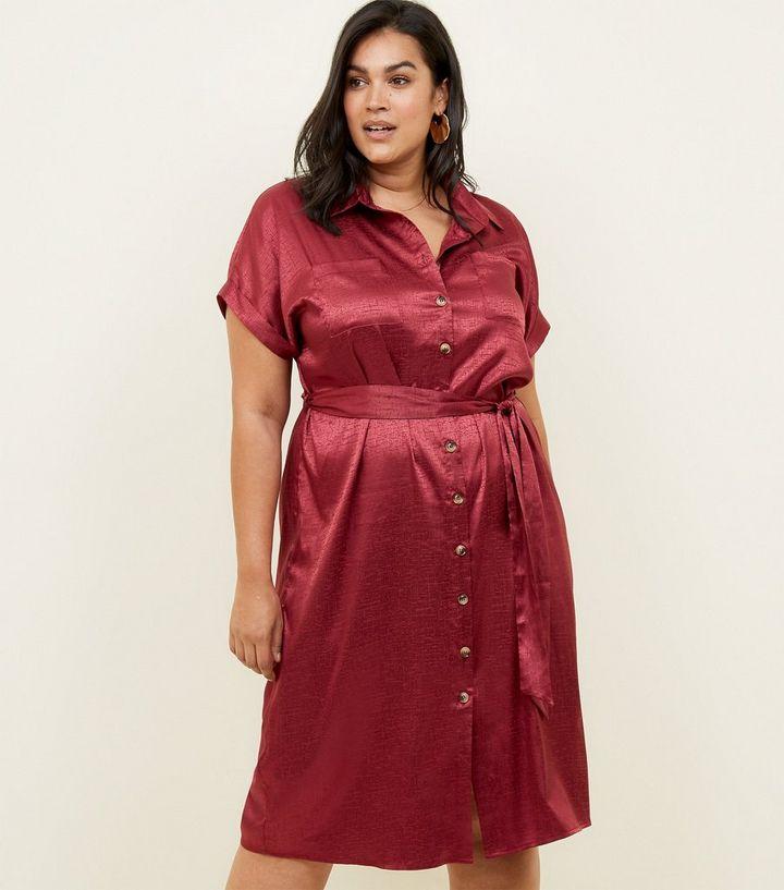 cad9e4fb1d77 Curves Burgundy Textured Satin Midi Shirt Dress