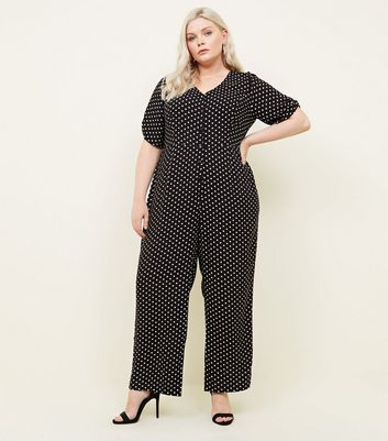 Curves Black Polka Dot Button Through Jumpsuit
