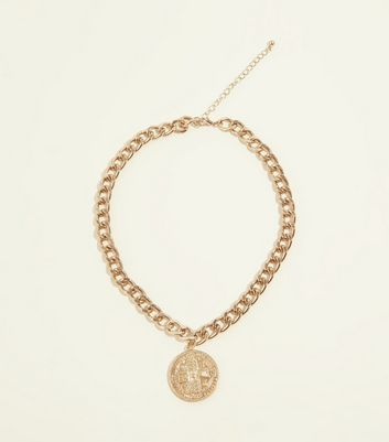 Gold Coloured Coin Pendant Chain Necklace