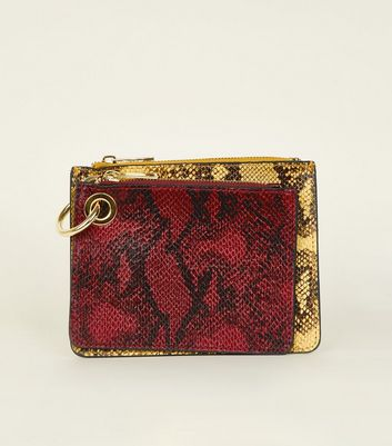 Red and Yellow Faux Snakeskin Double Coin Purse