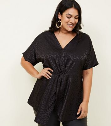 Curves Black Animal Jacquard Twist Front Top