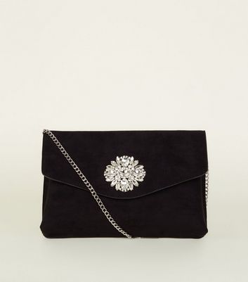 Black Suedette Diamanté Brooch Clutch Bag