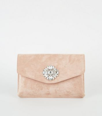 Nude Suedette Diamanté Brooch Clutch Bag