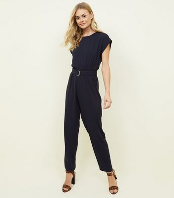 Navy Belted D Ring Jumpsuit