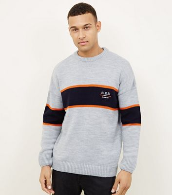 Navy 'Sports' Embroidered Colour Block Jumper