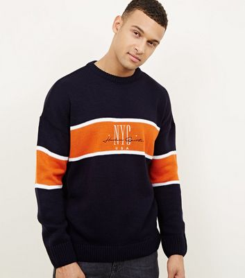 Navy 'NYC' Embroidered Colour Block Jumper