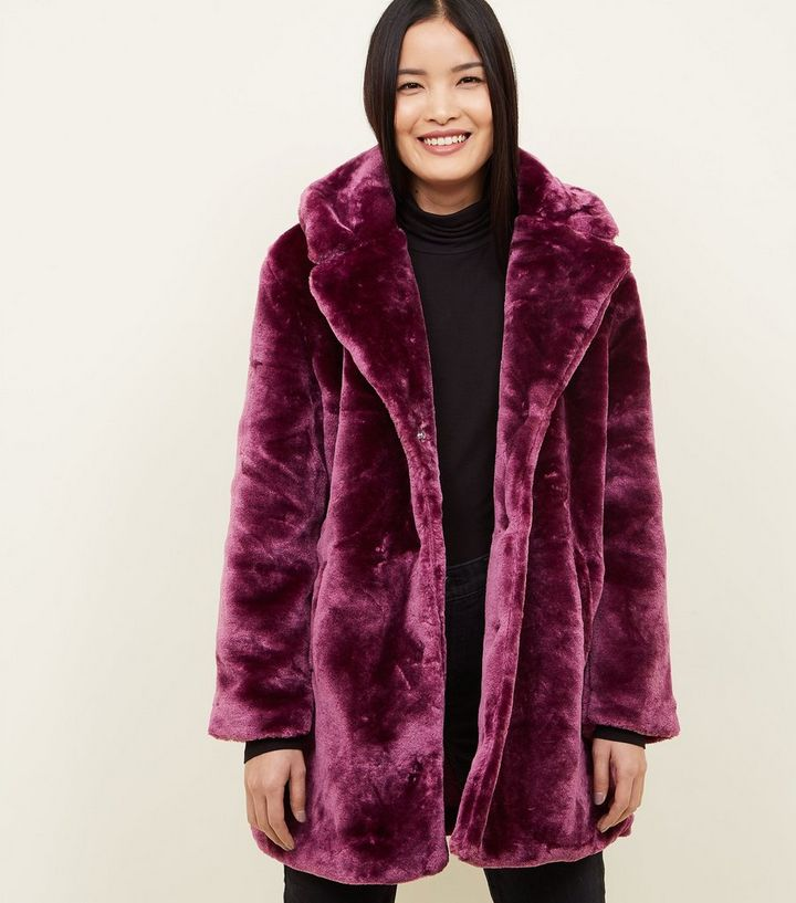 differently arriving limited style QED Dark Purple Teddy Faux Fur Coat Add to Saved Items Remove from Saved  Items