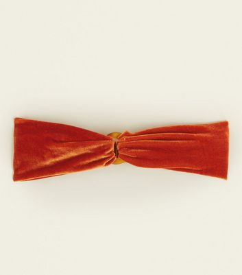 Orange Velvet Resin Ring Front Headband