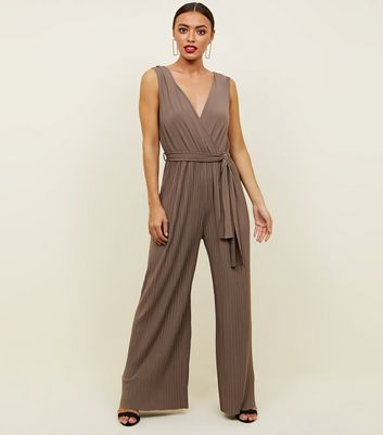AX Paris Grey Pleated Wide Leg Jumpsuit