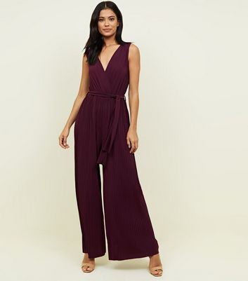 AX Paris Burgundy Pleated Wide Leg Jumpsuit