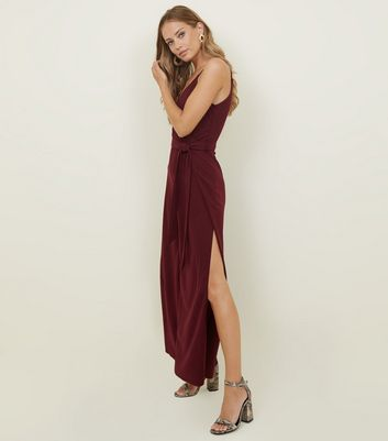 AX Paris Burgundy Split Leg Jumpsuit
