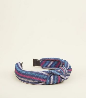 Multicoloured Glitter Stripe Knot Top Headband