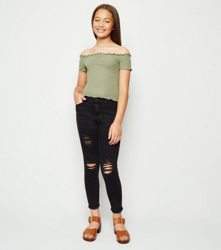 791177119a9 Girls Black Ripped High Waist Skinny Jeans | New Look