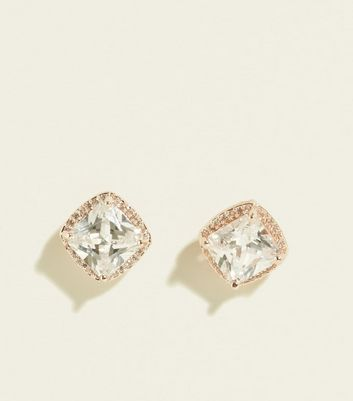 Rose Gold Cubic Zirconia Chunky Stud Earrings