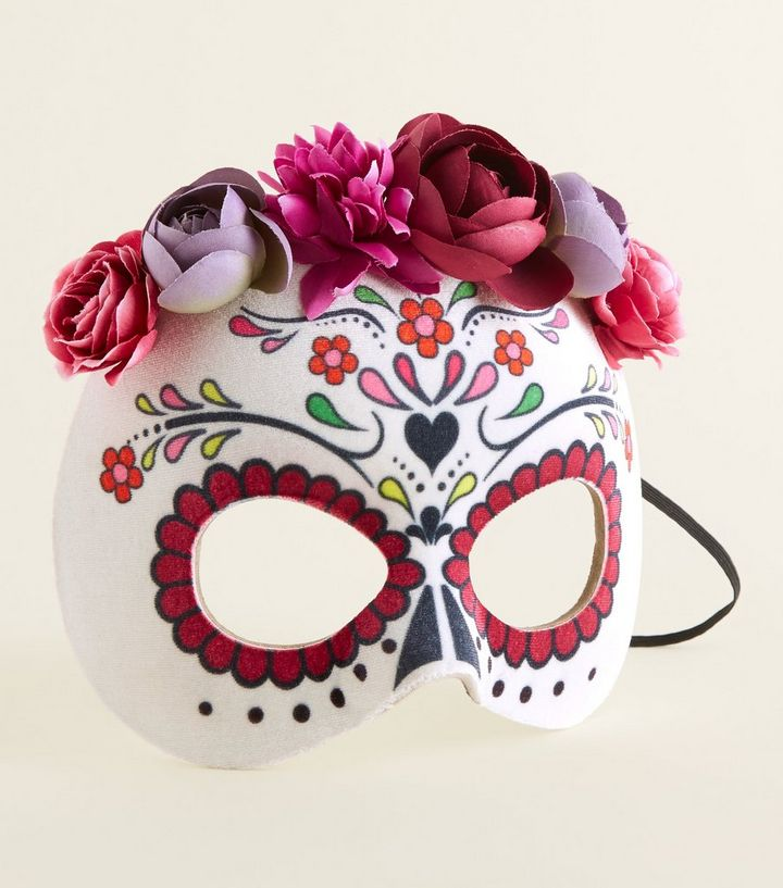 White Day Of The Dead Halloween Mask New Look