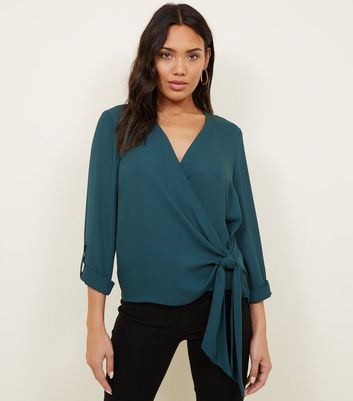 Dark Green Wrap Side Tie Long Sleeve Shirt