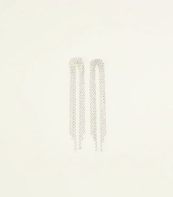 Re-Born Silver Crystal Cup Chain Duster Earrings
