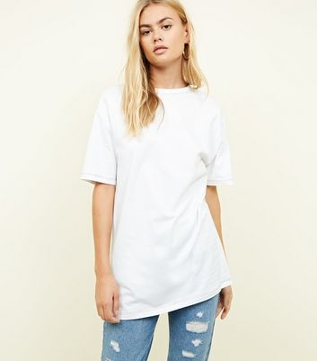White Contrast Stitch Oversized T-Shirt