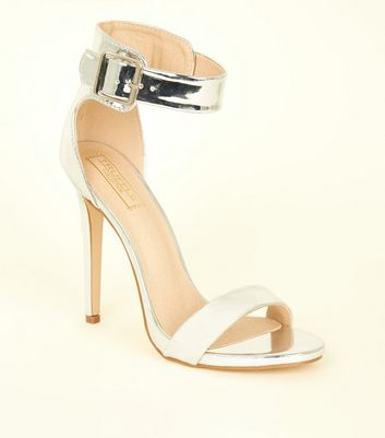 Silver Metallic Wide Ankle Strap Stilettos