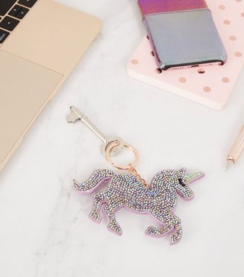 Lilac Unicorn Diamanté Keyring