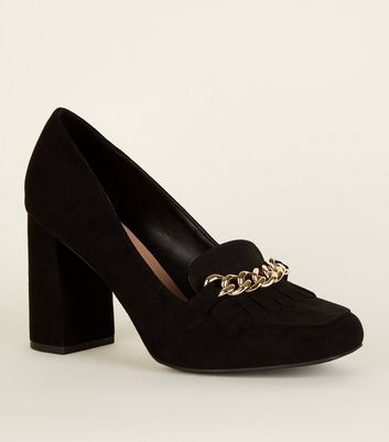 Wide Fit Black Loafer Style Suedette Court Heels