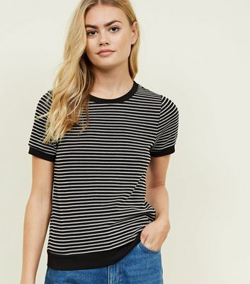 Black Houndstooth Stripe Ribbed T-Shirt