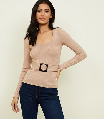 Camel Ribbed Buckle Long Sleeve Top